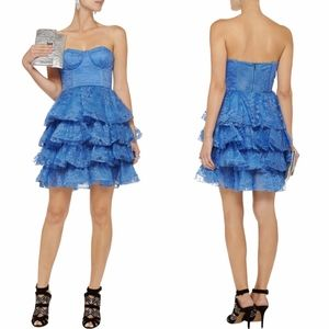 NWT Alice + Olivia Blue Lace Bustier Tiered Dress
